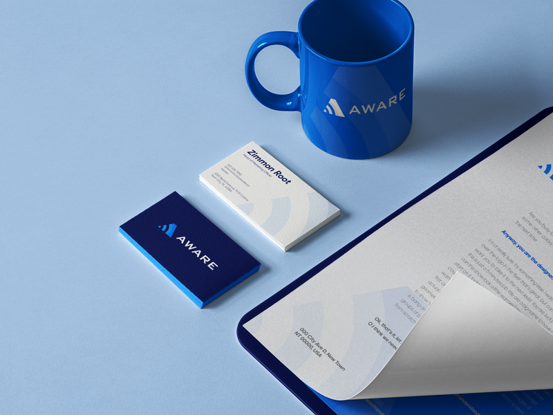 Aware Branding Assets security app wordmark wire networking minimalist negative space logo lettermark iconic logo identity clean security system assets branding identity branding brand sensor temperature wireless