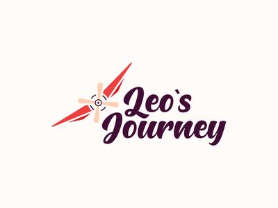 Leo's Journey illustration design logo script clean brand branding trip planner enjoying funny colorful travels worldwide travel guide journey travelers traveling travel fly aeroplane
