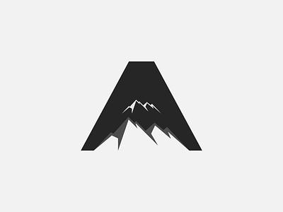 A Mountain branding design dark iconic monogram mark lettermark vector negative space minimal design logo clean mountain a letter brand branding