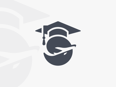 Logo Concept graduation iconic monogram educational brand design studying earth airplane abroad study abroad study education mark logo education logo minimal negative space clean branding brand