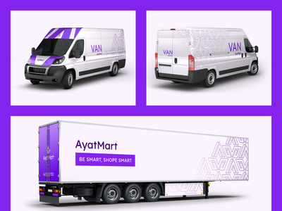 AyatMart Delivery Van   Transport purple profile zoomdesign color scheme lettermark identity branding delivery van transport vehicle design van design delivery truck delivery online shop brand pattern brand identity design clean identity branding