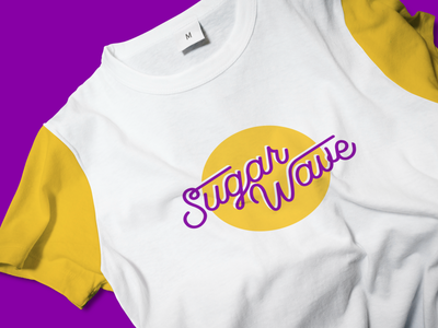 Sugar Wave Branding colorful purple yellow print wave script lettering t-shirt design clothing clothes swag apperal lettermark logo clean branding typography t-shirt