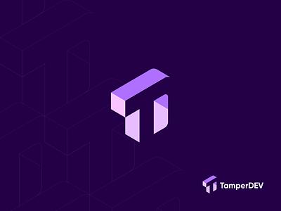 TemperDev Logo, T+D Letter Negative Space brand pattern logo design temper letter logo extension software plugins vector mark minimal monogram negative space lettermark logo clean cleaver