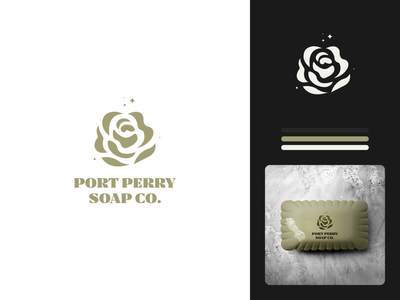 Port Perry Soap Co. Logo Proposal vector illustration design graphic design branding logo glamour bright body clean clean hand skin gorgeous rose flower floral co. soap perry port