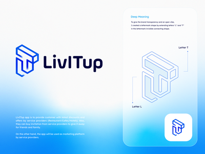 LivITup Logo/App icon branding ui design designer logodesigner minimal clean monogram letter t letter l mark letter lettermark provider service icon app logo