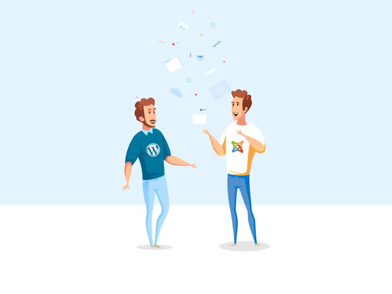 Joomla vs Wordpress! banner design business blog header discussion blog cover choose meeting illustrations color character joomla designs design illustration art illustraion wordpress vs joomla