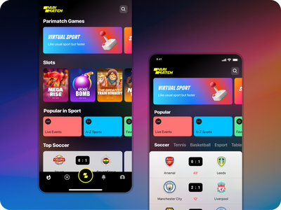 Parimatch design main page design concept soccer slots casino gambling betting bet