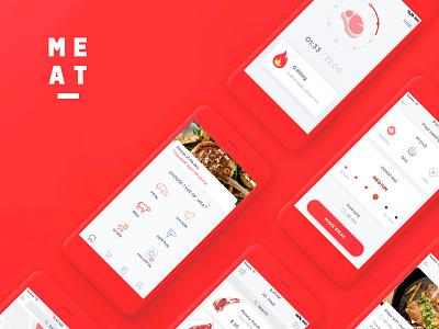 Make Steak Application uxui ux uiux ui steak red iphone ios grill design application app