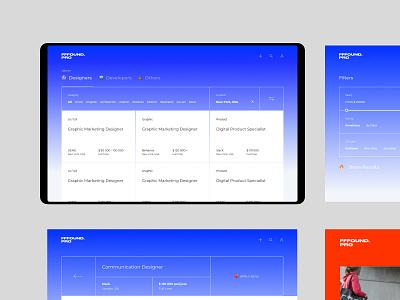 fffound.pro — jobs for designers and developers blue work job web app ux ui