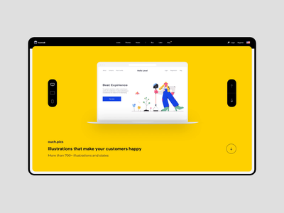 Ouch.pics icons 8 concept ux ui product page website iphone macbook orange yellow illustration animation landing web