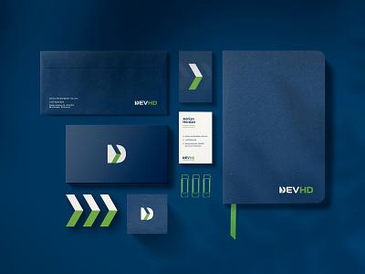 DEVHD stationery software consultancy icon fun dribbble idea graphic brandidentity typography brand simple branding identity shot design devhd creative inspiration logodesign logo