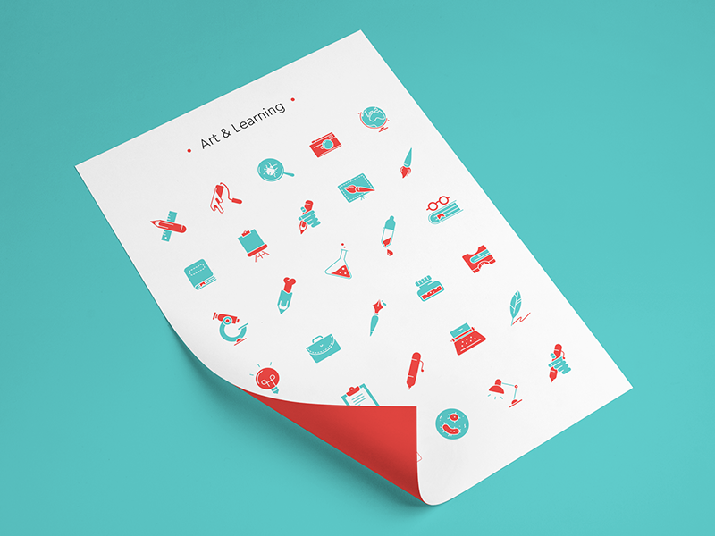 Free Art & Learning Icon Set vector simple psd pack line freebie free png minimal svg icon flat