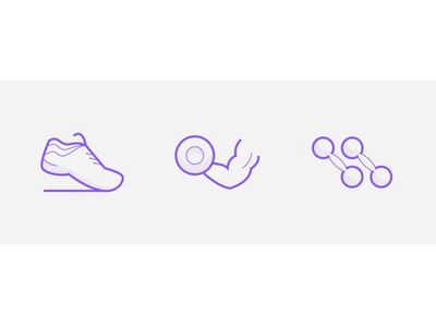 Fitness icons gym sport dumbbell shoes hls vector app stroke simple line icon flat