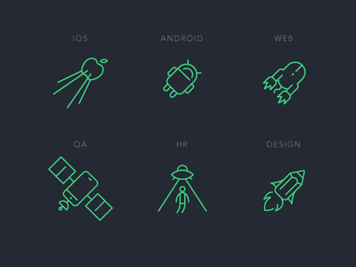 Digital Product Studio Icons studio hr qa web android ios design ufo space vector pack icon