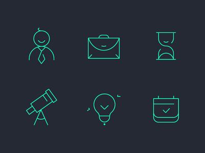 Outline icons for web project project calendar profile clock ui outline clean studio space set icon web