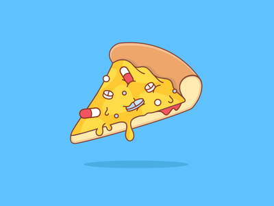 Pills Pizza sick eat vector medicine pills tasty slice pizza illustration food flat cheese