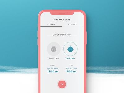BookJane. Search caregiver iphone x iphone interaction design app design app ios search ux ui mobile minimalistic