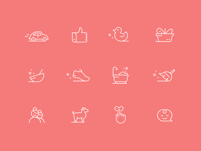 Caring Icon Set duck fitness meal hand car dog stroke vector minimal line icon flat
