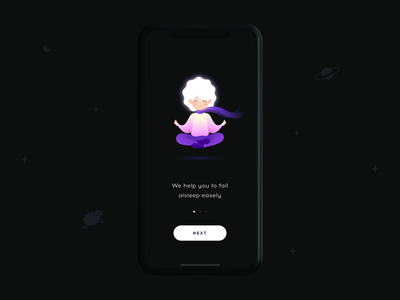 SleepSci. Onboarding ios sleep relax health motion iphone ux illustration mobile app ui vector
