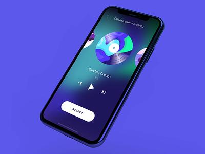 SleepSci. Alarm Melody dream player sleep alarm interaction animation motion ux ui app mobile ios