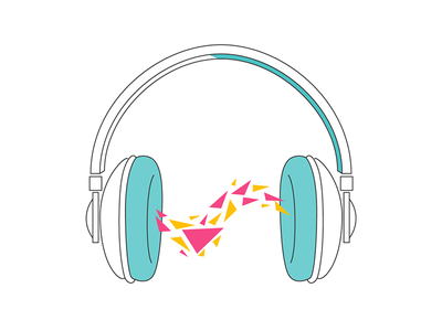Podcas snippet visual audio rich media line art wave headphone sound music google podcast