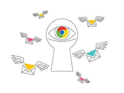 Gmail is watching keyhole spy mail eye email fly wings advertising display watch gmail google