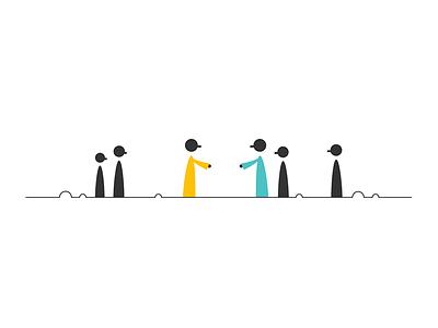 Hello robes blue yellow standoff hand shake stranger meeting vector illustration
