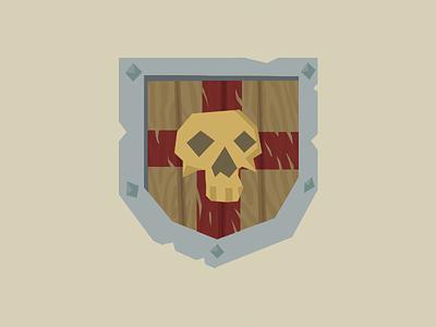 Shield of Timothy the Unlucky flat colours link zelda cross skull vector shield illustration