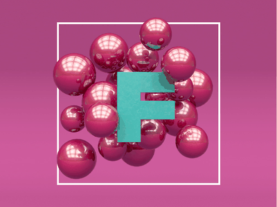 F-balls studio reflection floating found pink balls render 3d