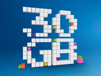 30 Gig pixel blocks isometric visualize data gigabyte 3d