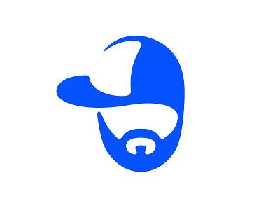 Personal logo negativespace cap blue logo beard face logo mark