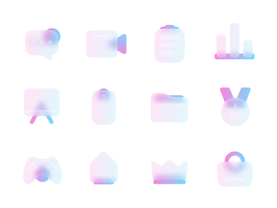 Matt Glass Icon figma gradient mobile pack iconset colorful neon colors glow neon modern glass effect glass frosted glass frosted matt matted icon design freebie free icons