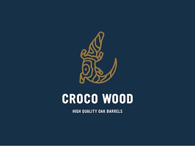 Croco Wood design emblem symbol indian oak wood logo alligator croco crocodile