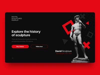 Digital Sculptures Museum Page interface dailyui hero image landing website web design uxui ux history of redemption black history sculpture statue museum