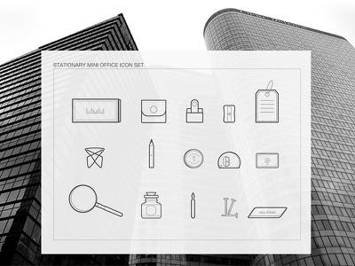 OFFICE STATIONARY ICON MINI-SET sketch work city set icon outline stationary office
