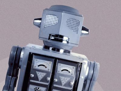 Robot-o  finally born  poster outlines logo icon robot