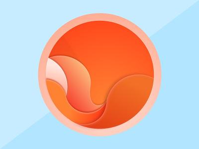 Oh my summer! sun curves round calm orange organic minimal sketch icon summer