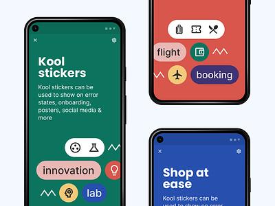 Kool stickers ui onboarding icons illustration exploration stickers kool