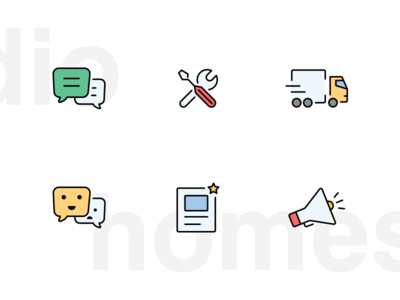 Homestudio - service app icons  outlined icons filled icon line icons flat icons illustration icons