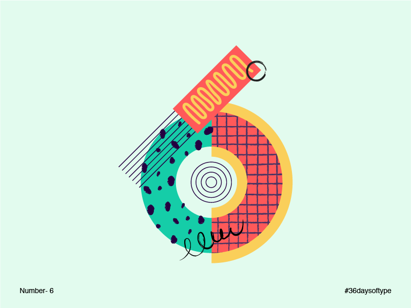 Number 6 - #36daysoftype 36daysoftype 6 geometric abstract number vector graphic illustration