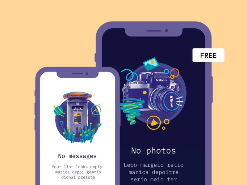 Poke empty illustrations (FREE) app web product no new messages empty state error illustrations free poke