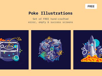 Poke - Free Illustrations freebies hand-drawn procreate app web illustrations free poke graphic illustration
