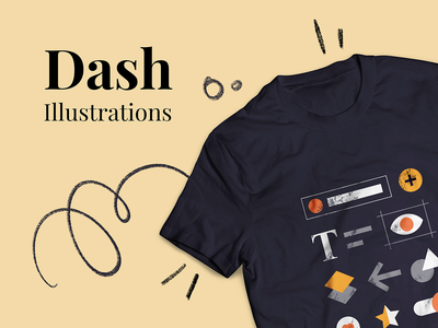Dash Free Illustrations | T-Shirt ai download free texture components ui icons tshirt graphic vector illustration