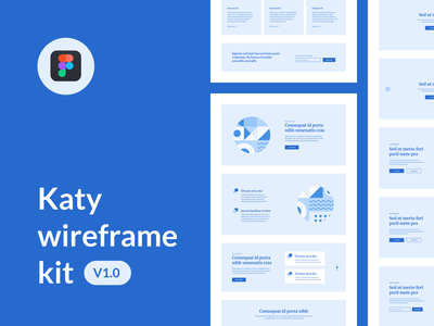 Katy wireframe kit v1.0 vector hi-fi layouts web design atomic kit ui wireframe