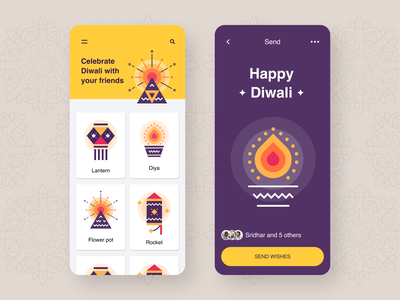 Diwali - Send wishes ux ui ios app graphic illustration wishes diwali