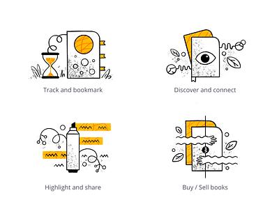 The Reader - App illustrations product walkthrough onboarding graphics ui app procreate hand-drawn illustration