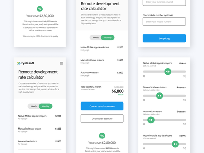 Pricing page - Mobile responsive version table form slider design app user inerface ui web pricing