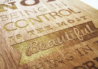 type laser etched from wood