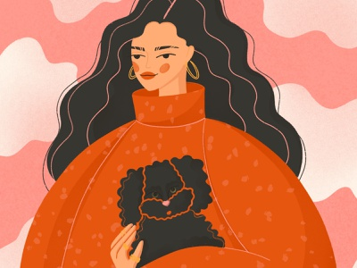 #facetober: dog lover, frizzy hair, sweater red sweater knitted sweater coziness autumn illustration for the article visual art ped pink black dog frizzy hair girl lover sweater girl dog color illustration free drawing illustration facetober14 facetober