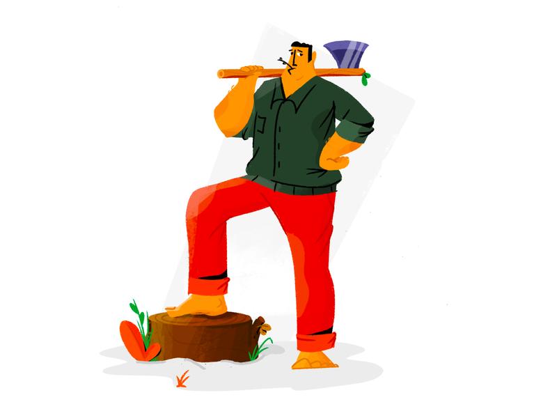 Lumberjack 🪓 sketch digital brush texture plant styleframe lumberjack procreate cartoon daily character flat design illustration vector 2d